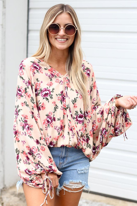 Ivory - Floral Oversized Blouse