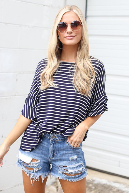 Navy - Ruffle Sleeve Tee from Dress Up