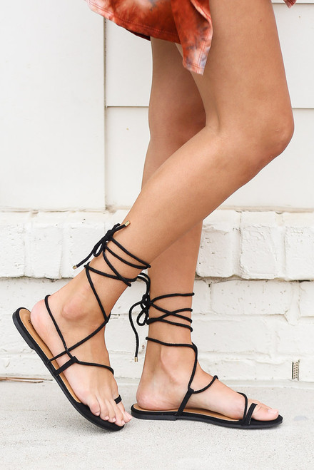 Black - Lace-Up Sandals