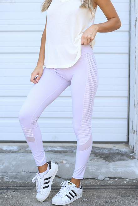 Lavender - Model wearing the Moto High-Rise Leggings