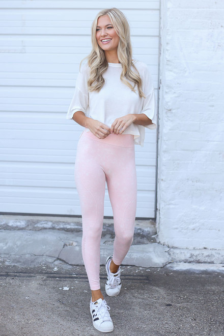 Peach - High-Waisted Ribbed Leggings from Dress Up