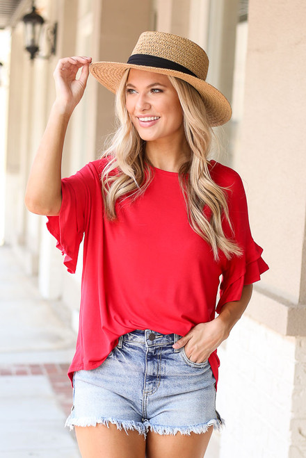 Red - Ruffle Sleeve Tee