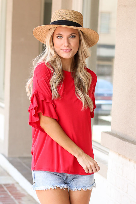 Red - Ruffle Sleeve Tee from Dress Up