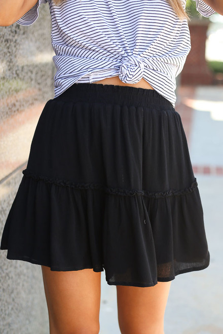 Black - Close Up of the Tiered Skirt