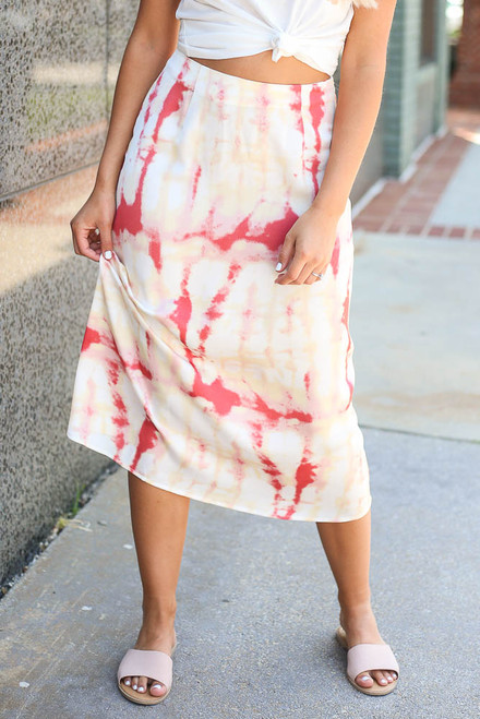 Peach -  Close Up of the Tie-Dye Midi Skirt