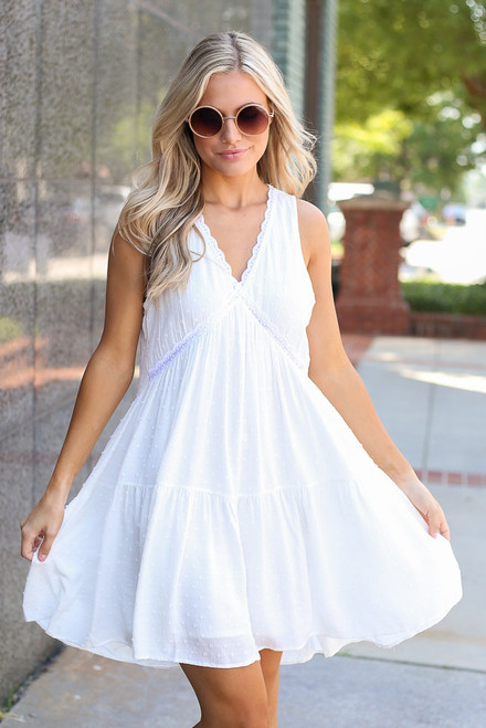White - Swiss Dot Swing Dress
