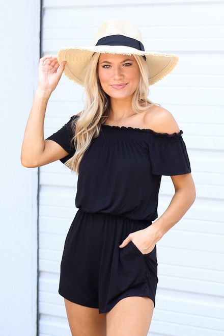 Black - Smocked Off The Shoulder Romper from Dress Up
