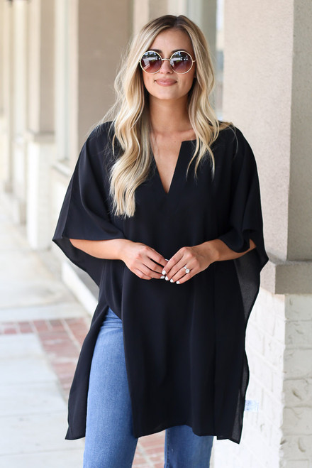 Black - Oversized Split Hem Tunic from Dress Up