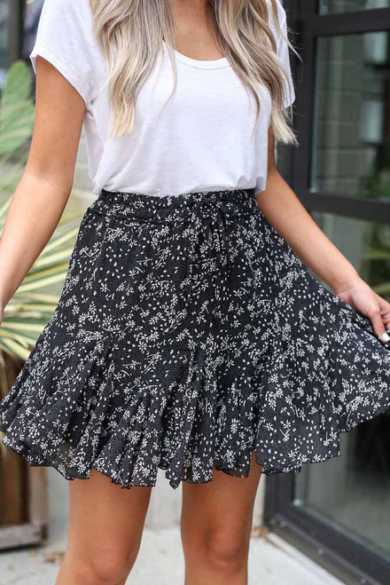 Black - Floral Swing Skirt from Dress Up