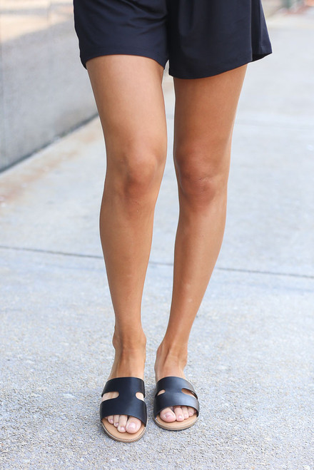 Black - Cutout Slip On Sandals