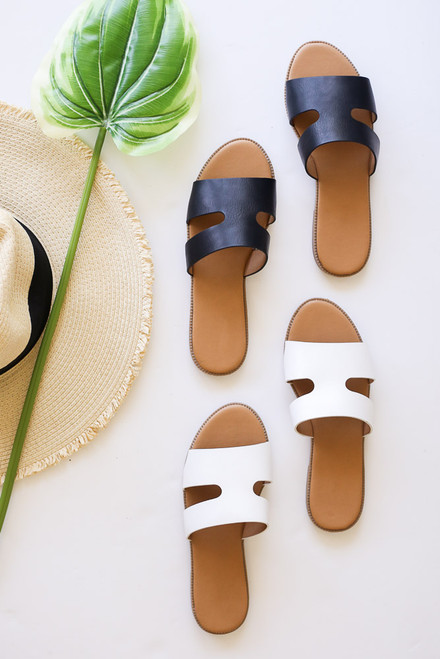 Black - cute cutout summer sandals from dress up
