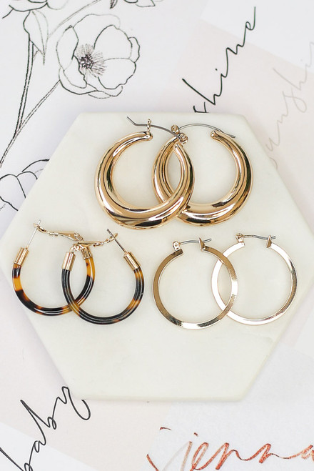 Gold - Hoop Earring Set