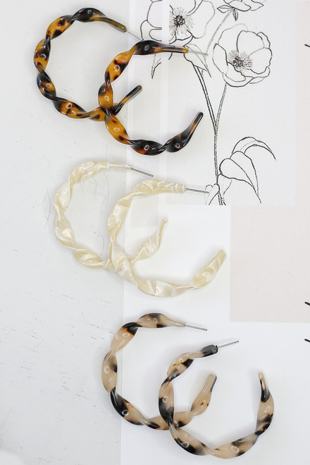 Tan - Twisted Acrylic Hoop Earrings