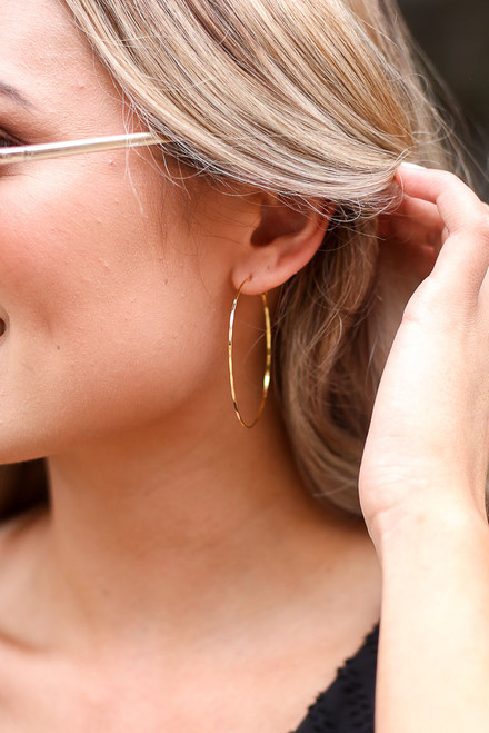 Gold - Textured Hoop Earrings