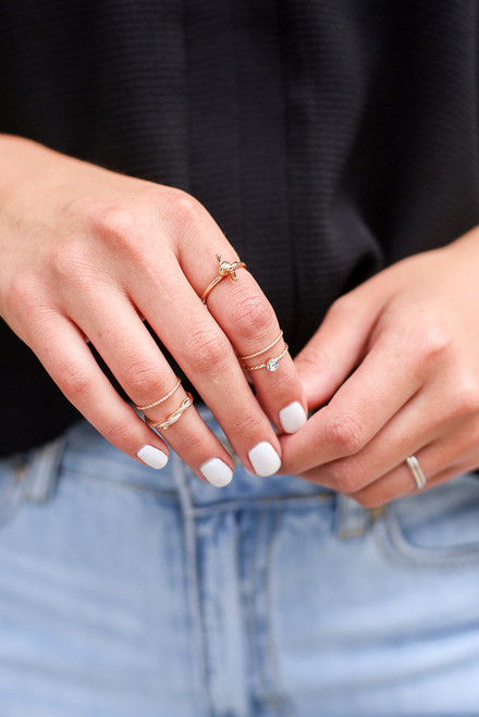 Gold - Knotted Ring Set