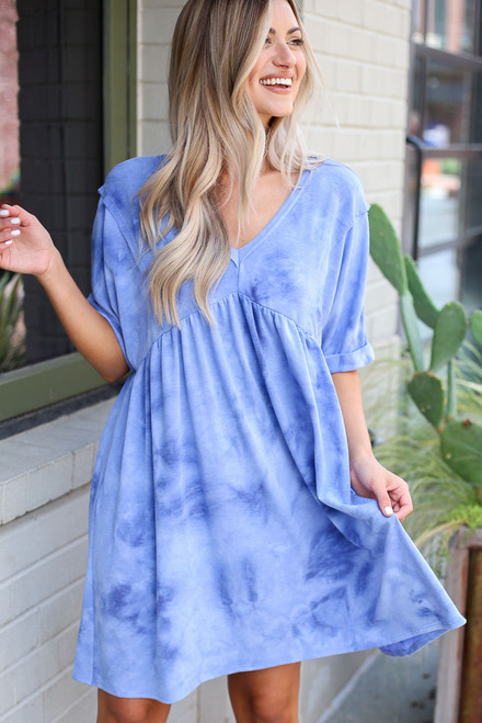 Blue - Tie-Dye Babydoll Dress