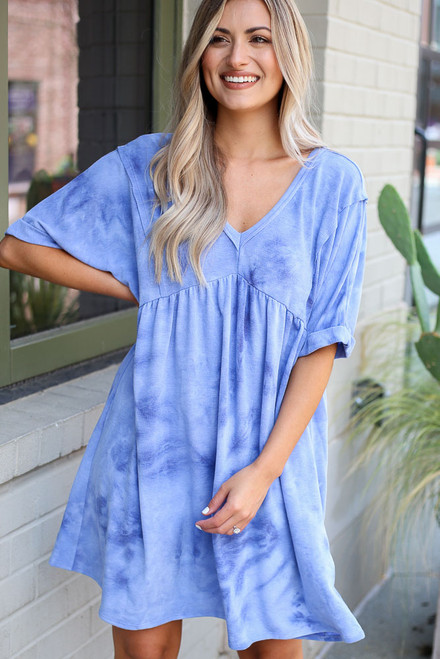 Blue - Tie-Dye Babydoll Dress from Dress Up