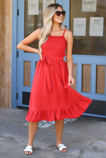 Red - Smocked Ruffle Midi Dress