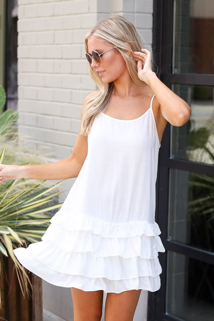 White - Ruffle Hem Dress