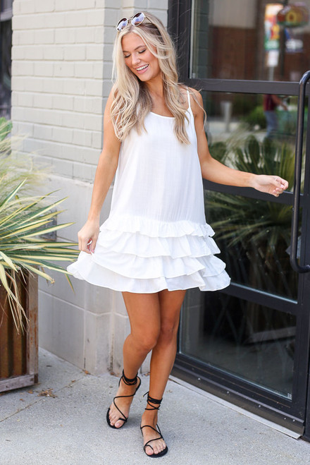 White - Ruffle Hem Dress from Dress Up