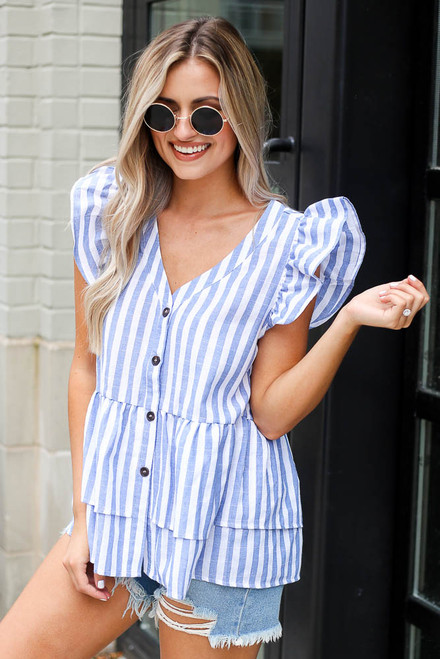 Blue - Striped Button Front Babydoll Blouse