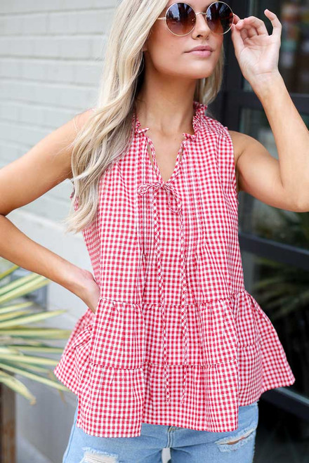 Red - Tiered Gingham Tank