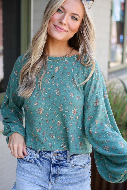 Green - Oversized Floral Top from Dress Up
