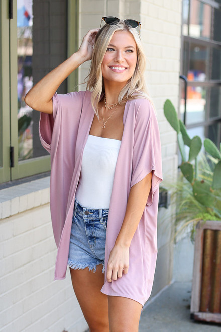 Mauve - Model wearing the Oversized Cardigan