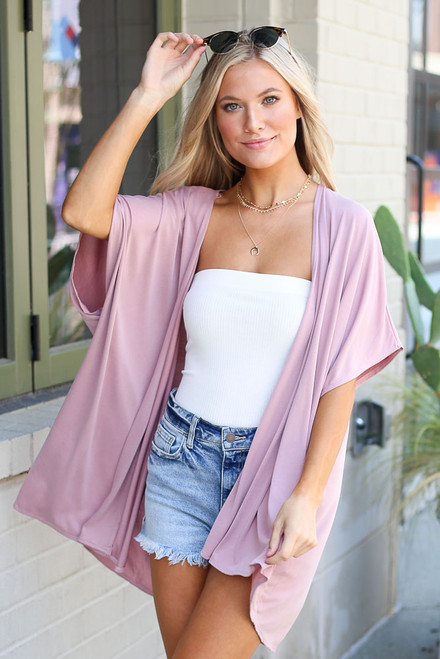 Mauve - Dress Up model wearing the Oversized Cardigan
