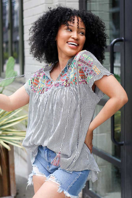 Black - Striped Embroidered Blouse from Dress Up
