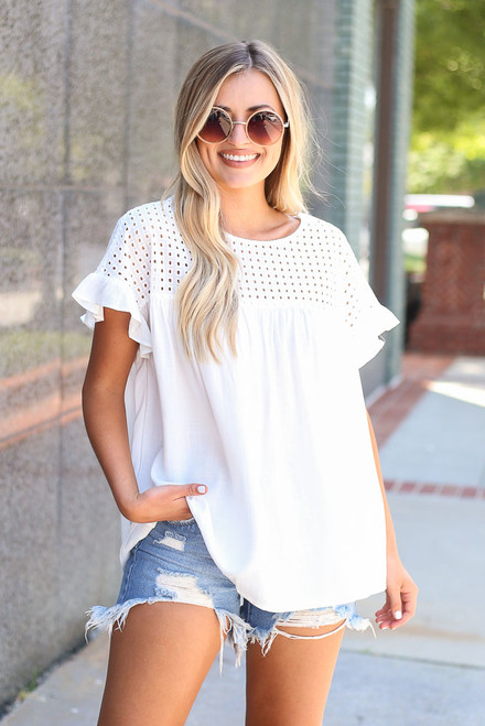 White - Eyelet Babydoll Top