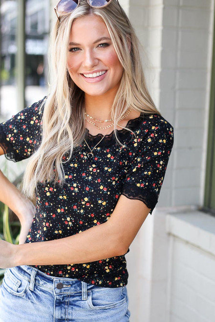 Black - Floral Lace Top from Dress Up