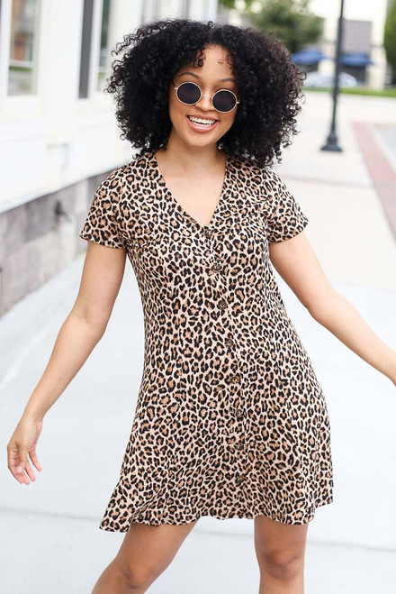 Leopard - Button Front Dress