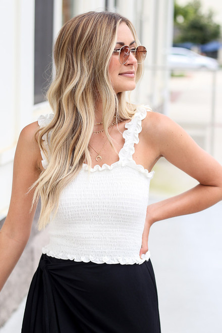 White - cute smocked crop top
