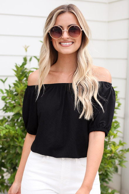 Black - Puff Sleeve Top