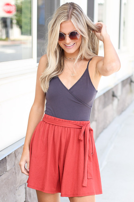 Marsala - Tie-Waist Shorts from Dress Up