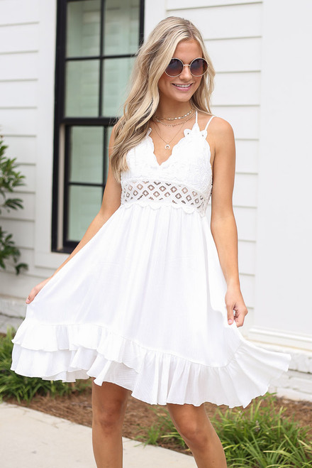 White - Lace Slip Dress