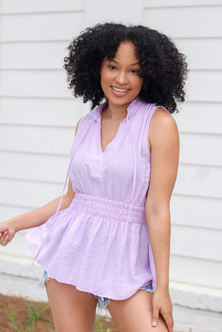 Lavender - High Neck Smocked Tank