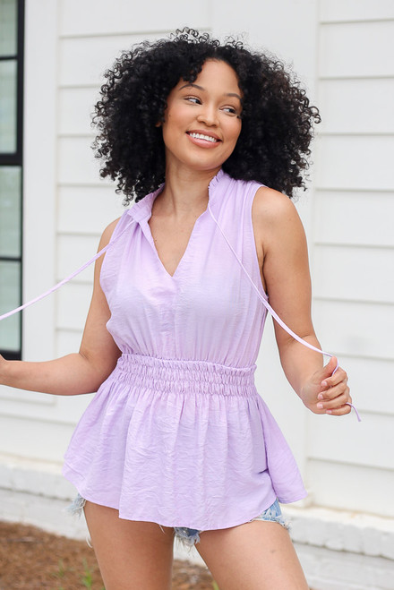 Lavender - High Neck Smocked Tank from Dress Up