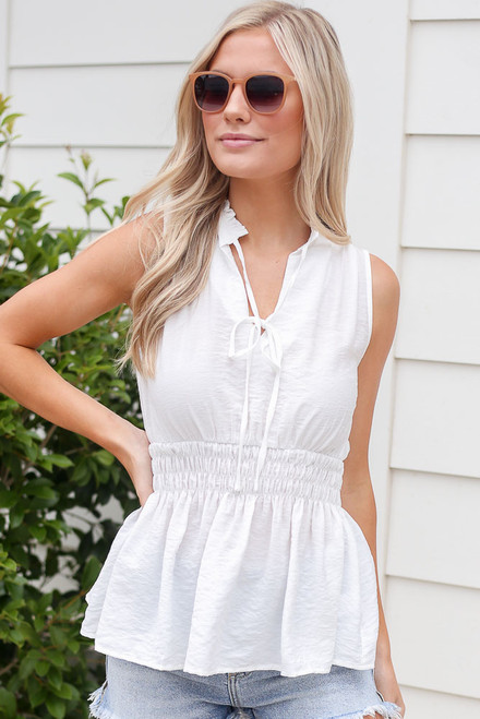 White - Model wearing the High Neck Smocked Tank