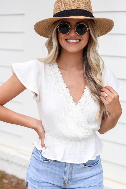 White - Crochet Peplum Top from Dress Up