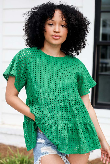 Green - Eyelet Tiered Babydoll Top