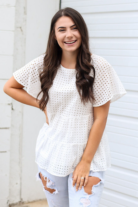 White - Dress Up model wearing the Eyelet Tiered Babydoll Top