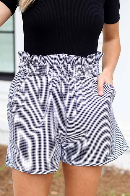 Black - Gingham Paperbag Waist Shorts