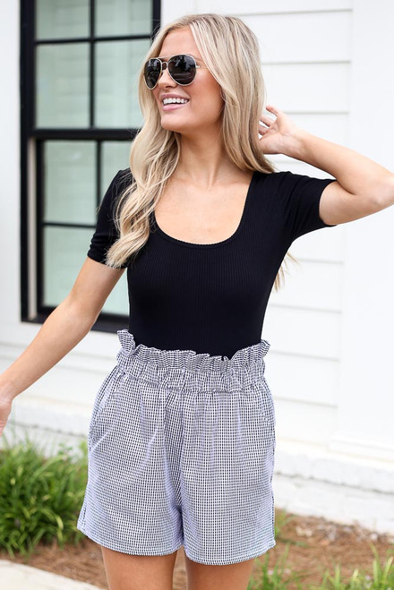 Black - Gingham Paperbag Waist Shorts from Dress Up
