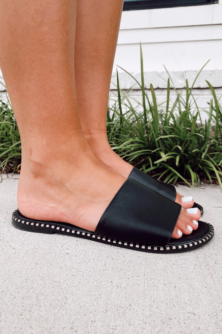 Black - Studded Slip On Sandals