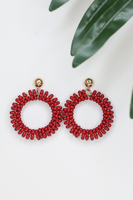Red - Beaded Statement Earrings from Dress Up