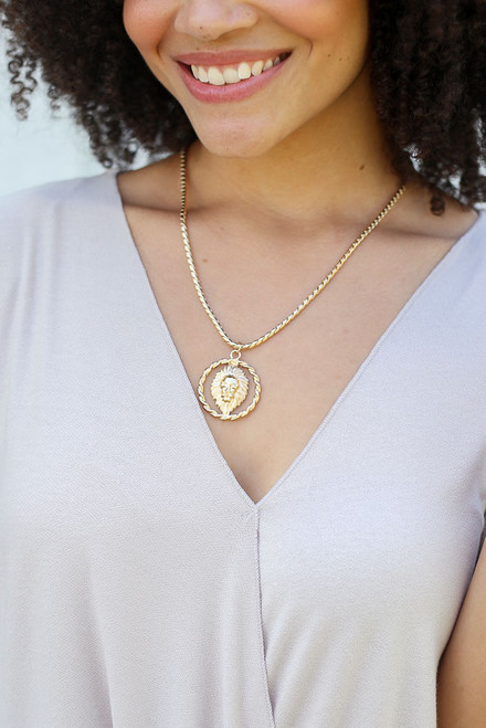 Gold - Lion Pendant Necklace