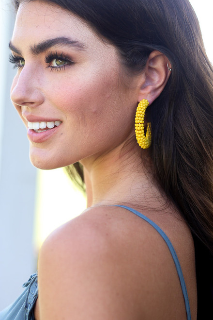 Yellow - Beaded Hoop Earrings