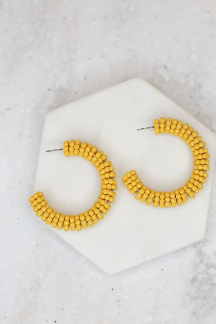Yellow - Beaded Hoop Earrings from Dress Up
